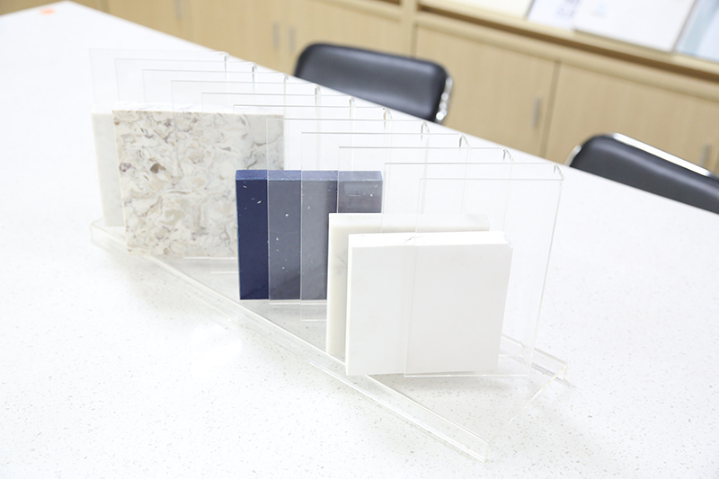 Quartz Sample Display Tabletop Racks Marble Display Stand In Showroom ST-39-1