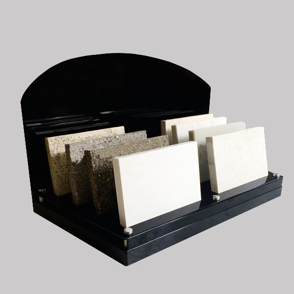 Solid Wood Display Rack With Backplane Acrylic Countertop Artificial Stone Display ST-118-1